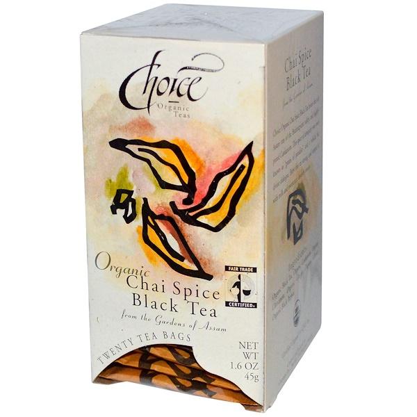 Choice Organic Teas, Organic Chai Spice Black Tea, 20 Tea Bags, 1.6 oz (45 g) (Discontinued Item)