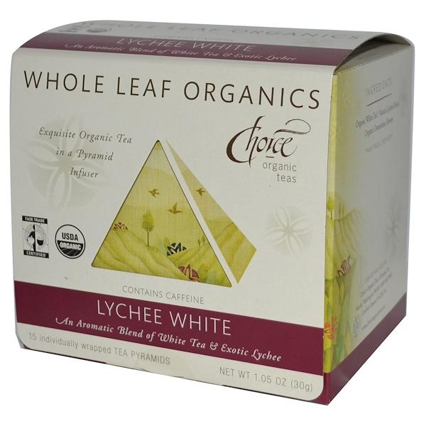 Choice Organic Teas, Whole Leaf Organics, Lychee White, 15 Tea Bags, 1.05 oz (30 g) (Discontinued Item)