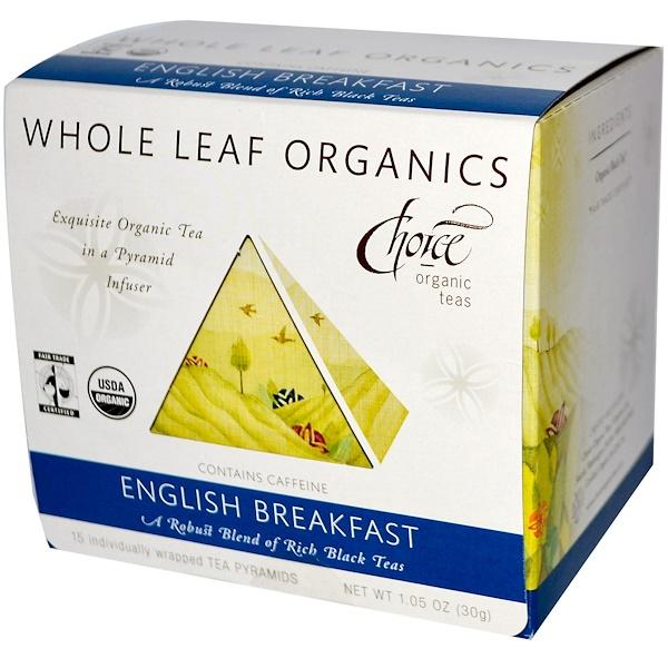 Choice Organic Teas, Органический листовой чай, Английский завтрак, 15 пакетиков - пирамид 1.05 унции (30 г) (Discontinued Item)