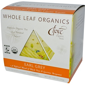 Чойс Органик Тис, Whole Leaf Organics, Earl Grey, Caffeinated, 15 Tea Pyramids, 1.05 oz (30 g) отзывы
