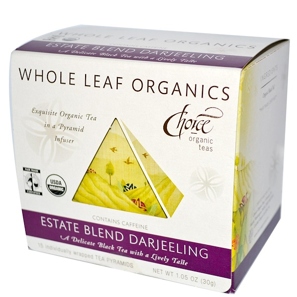 Choice Organic Teas, Whole Leaf Organics, Estate Blend Darjeeling, 15 Tea Pyramids, 1.05 oz (30 g) (Discontinued Item)