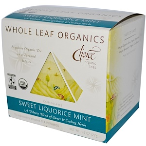 Чойс Органик Тис, Whole Leaf Organics, Sweet Liquorice Mint, Caffeine-Free, 15 Tea Pyramids, .95 oz (27 g) отзывы