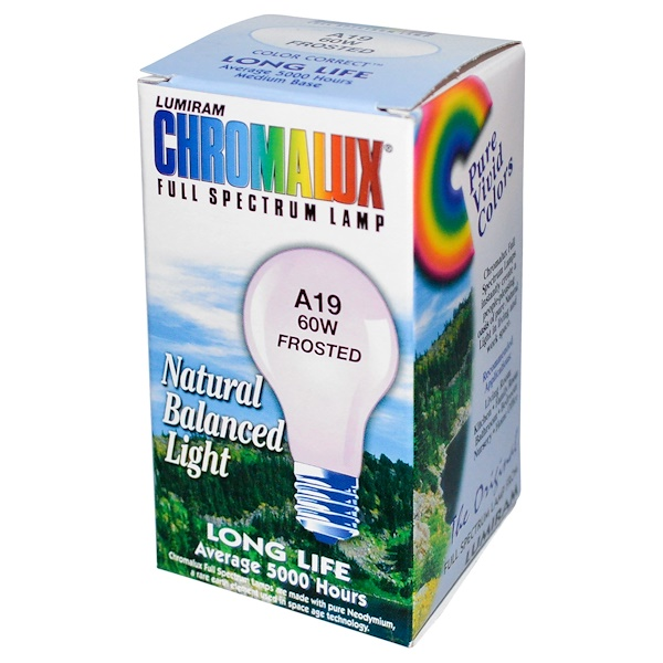 Chromalux, Lumiram, Full Spectrum Lamp, A19 60W Frosted, 1 Light Bulb (Discontinued Item)