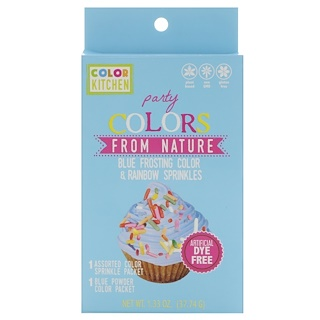 ColorKitchen, Party, Colors From Nature, Blue Frosting Color & Rainbow Sprinkles, 1.33 oz (37.74 g)