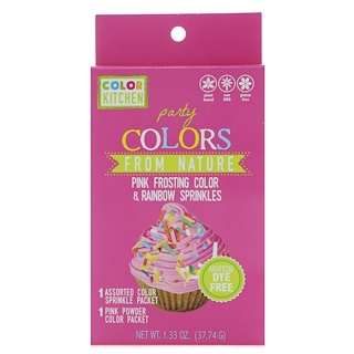 ColorKitchen, Party, Colors From Nature, Pink Frosting Color & Rainbow Sprinkles, 1.33 oz (37.74 g)