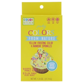 ColorKitchen, Party, Colors From Nature, Yellow Frosting Color & Rainbow Sprinkles, 1.33 oz (37.74 g)
