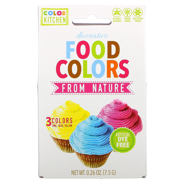 ColorKitchen, Decorative, Food Colors From Nature, 3 Color Packets, 0.088 oz (2.5 g) Each