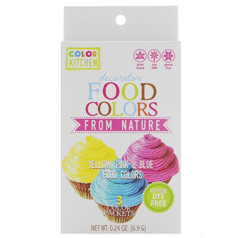 Decorative, Food Colors From Nature, 3 Color Packets, 0.24 oz (6.9 g)