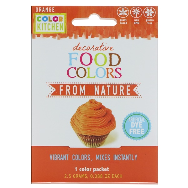 ColorKitchen, Decorative, Food Colors From Nature, Orange, 1 Color Packet, 0.088 oz (2.5 g) (Discontinued Item)