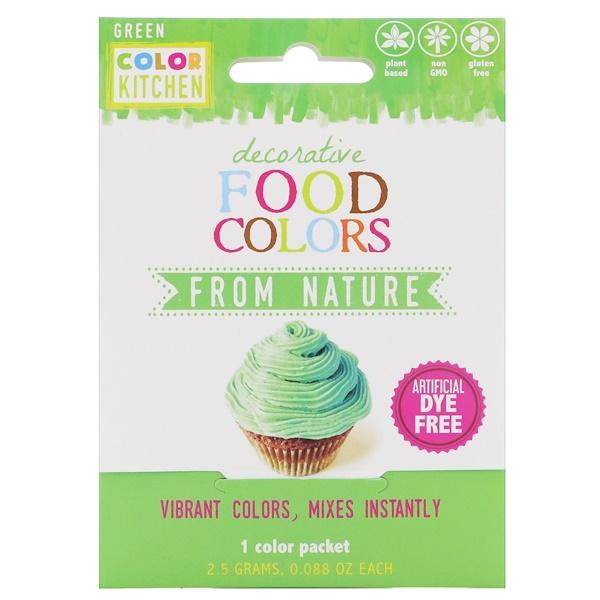 ColorKitchen, 裝飾用,天然食品色素,綠色,1包,0、088盎司(2、5克)
