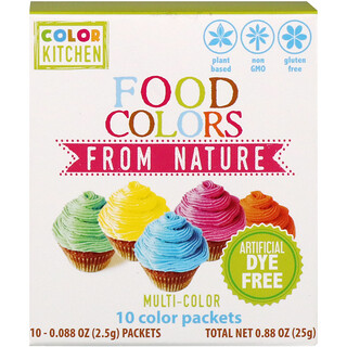 ColorKitchen, Природные пищевые красители, разные цвета, 10 пакетиков с красителями, 0,088 унц. (2,5 г) каждый