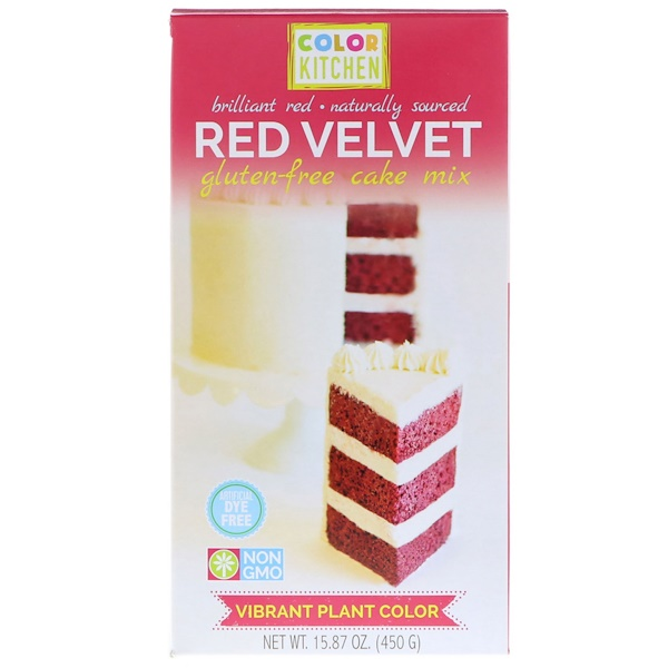 ColorKitchen, Mezcla de torta sin gluten, terciopelo rojo, 15,87 oz (450 g) (Discontinued Item)
