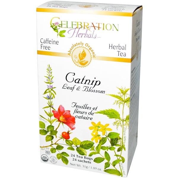 Celebration Herbals, Organic, Herbal Tea, Catnip Leaf & Blossom, 24 Tea Bags, 1.09 oz (31 g) (Discontinued Item)