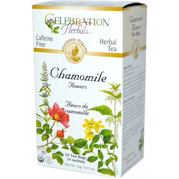 Celebration Herbals, Organic, Herbal Tea, Chamomile Flowers, Caffeine Free, 24 Tea Bags, 0.91 oz (26 g) (Discontinued Item)