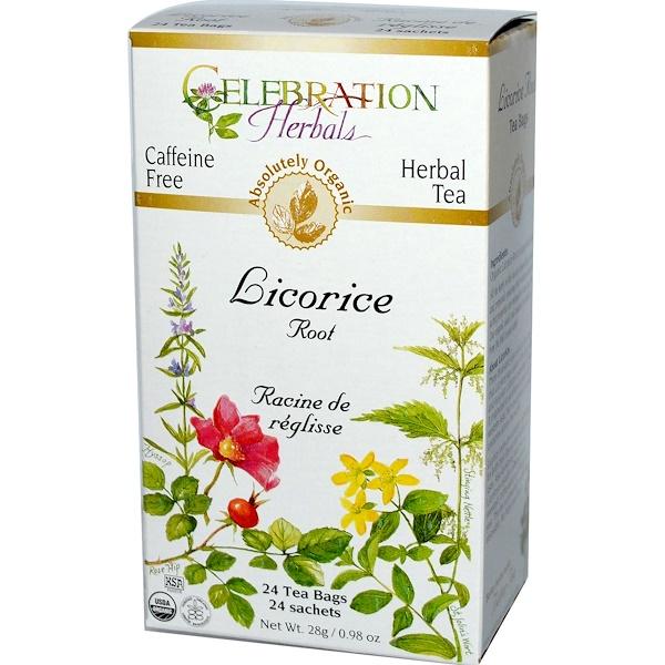 Celebration Herbals, Organic, Herbal Tea, Licorice Root, Caffeine Free, 24 Tea Bags, 0.98 oz (28 g) (Discontinued Item)