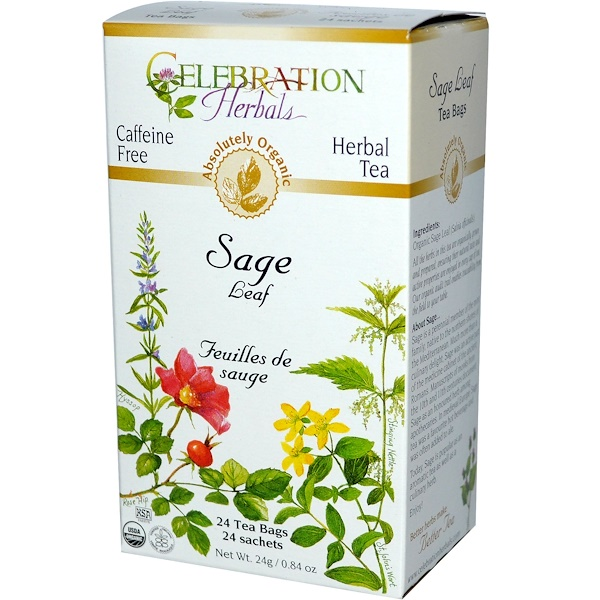 Celebration Herbals, Herbal Tea, Sage Leaf, Caffeine Free, 24 Tea Bags, 0.84 oz (24 g) (Discontinued Item)
