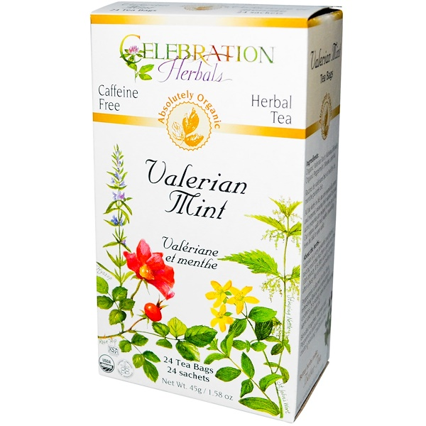 Celebration Herbals, Organic, Herbal Tea, Valerian Mint, Caffeine Free, 24 Tea Bags, 1.58 oz (45 g) (Discontinued Item)