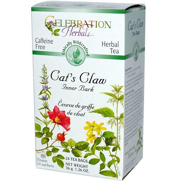 Celebration Herbals, Herbal Tea, Cat's Claw, Caffeine Free, 24 Tea Bags, 1.26 oz (36 g) (Discontinued Item)