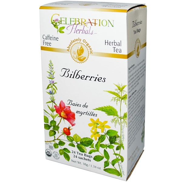 Celebration Herbals, Organic, Herbal Tea, Bilberries, Caffeine Free, 24 Tea Bags, 1.34 oz (38 g) (Discontinued Item)