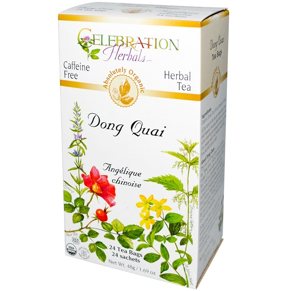 Celebration Herbals, Organic, Herbal Tea, Dong Quai, Caffeine Free, 24 Tea Bags, 1.69 oz (48 g) (Discontinued Item)