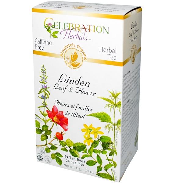 Celebration Herbals, Organic, Herbal Tea, Linden Leaf & Flower, 24 Tea Bags, 1.09 oz (31 g) (Discontinued Item)