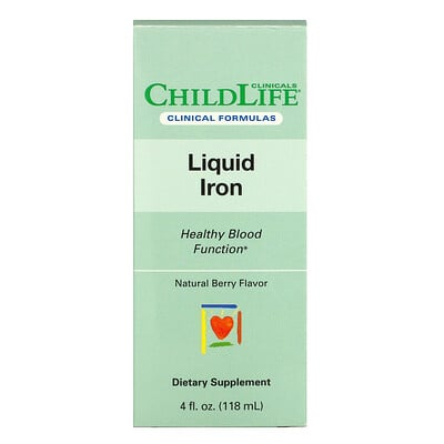 Childlife Clinicals Liquid Iron, Natural Berry, 4 fl oz (118 ml)  - купить со скидкой