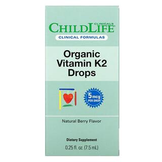 Childlife Clinicals, Organic Vitamin K2 Drops, Natural Berry Flavor , 0.25 fl oz (7.5 ml)