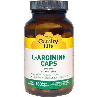 Country Life, L-아르기닌 캡, 500 mg, 100 베지캡