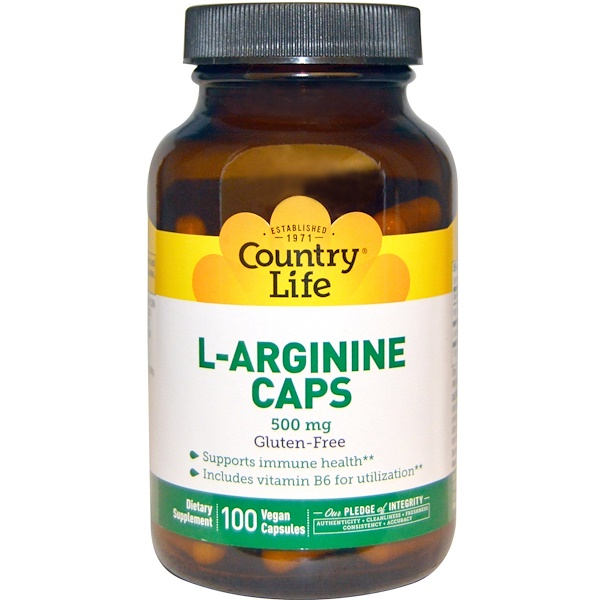 Country Life, L-Arginine Caps, 500 mg, 100 Vegan Capsules