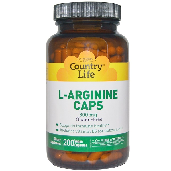Country Life, L-Arginine Caps, 500 mg, 200 Vegan Caps (Discontinued Item)