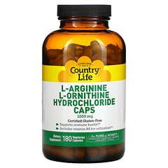Country Life, L-精氨酸和 L-鳥氨酸鹽酸鹽膠囊,1,000 毫克,180 粒膠囊