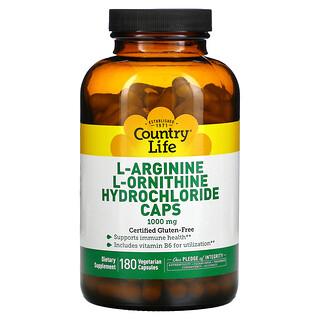 Country Life, Cápsulas de clorhidrato de L-arginina y L-ornitina, 1000mg, 180cápsulas vegetales