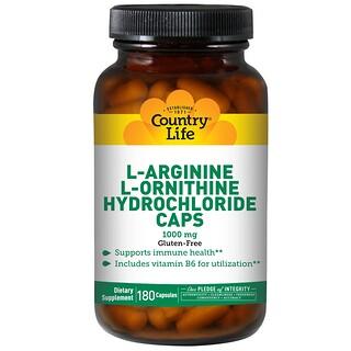Country Life, L-Arginine L-Ornithine Hydrochloride Caps, 1000 mg, 180 Capsules