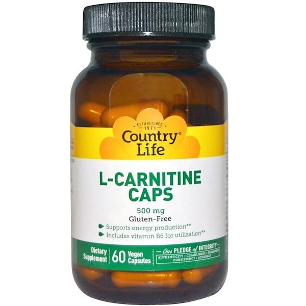 Country Life, L-Carnitine Caps, 500 mg, 60 Vegan Caps (Discontinued Item)