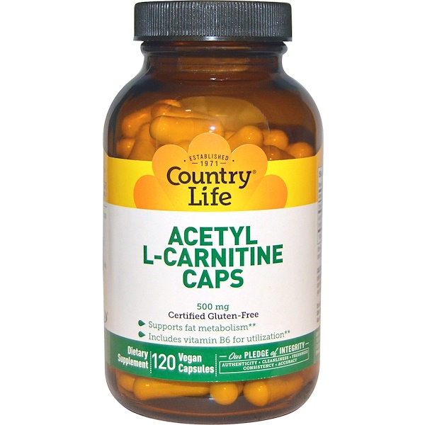 Country Life, Acetyl L-Carnitine Caps, 500 mg, 120 Vegan Capsules (Discontinued Item)