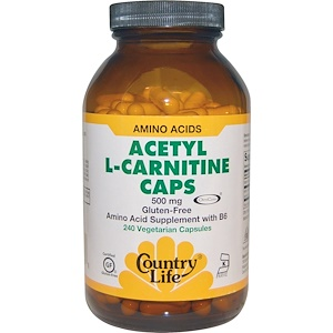 Кантри Лайф, Acetyl L-Carnitine Caps, 500 mg, 240 Vegetarian Capsules отзывы покупателей
