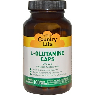 Country Life, L-Glutamine Caps, 500 mg, 100 Vegan Caps