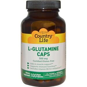 Кантри Лайф, L-Glutamine Caps, 500 mg, 100 Vegan Caps отзывы