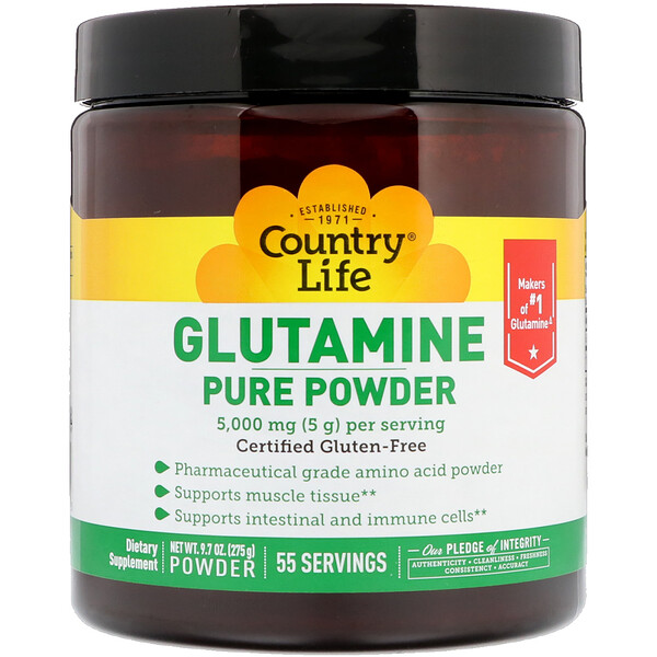 Country Life, Glutamine Pure Powder, 5,000 mg, 9.7 oz (275 g)