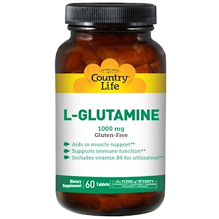 Country Life, L-Glutamine, 1000 mg, 60 Tablets