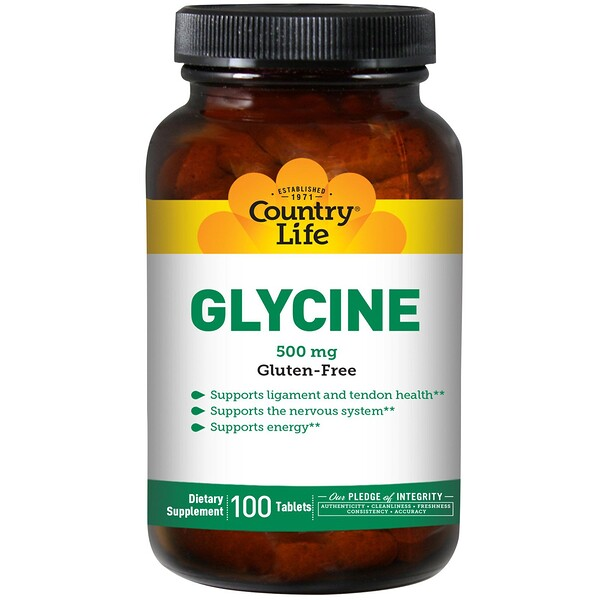 Country Life, Glycine, 500 mg, 100 comprimés