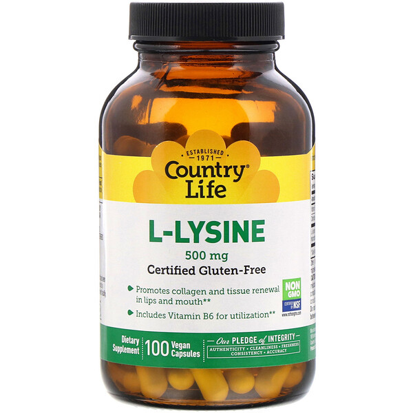 Country Life, L-Lysine, 500 mg, 100 Vegan Capsules