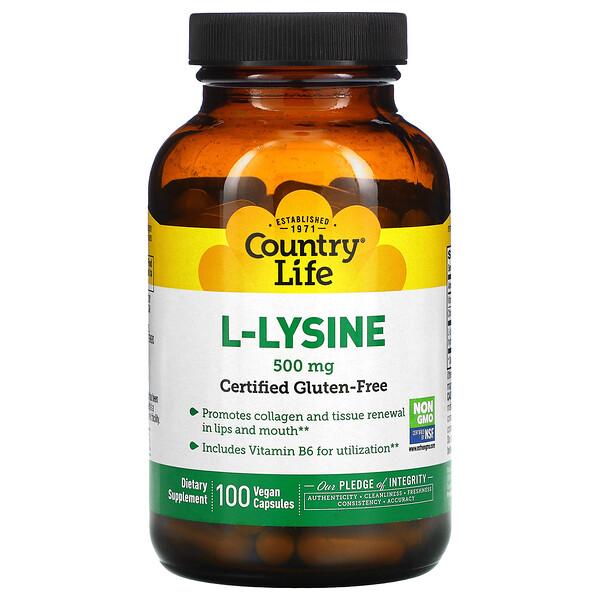 L-Lysine, 500 mg, 100 Vegan Capsules