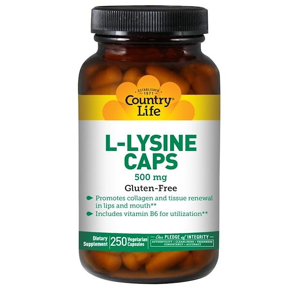 Country Life, L-Lysine Caps, 500 mg, 250 Veggie Caps (Discontinued Item)
