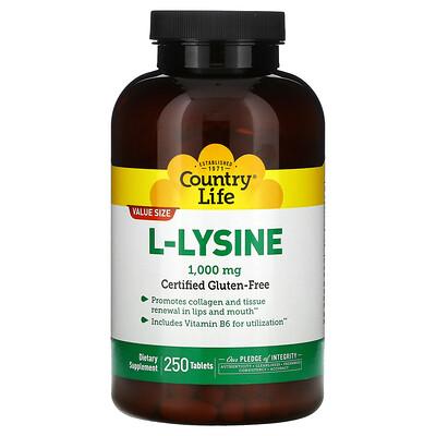 Country Life L-лизин, 1000 мг, 250 таблеток