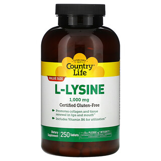 Country Life, L-Lysine, 1000 mg, 250 Tablets