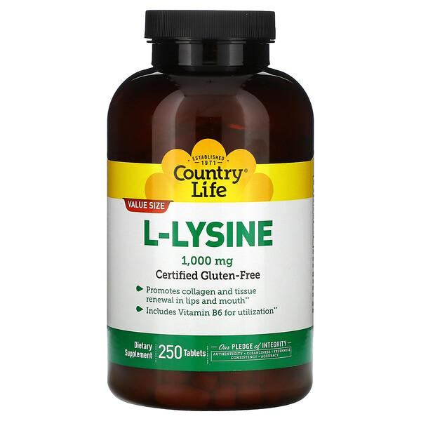 L-Lysine, 1000 mg, 250 Tablets