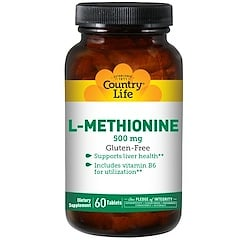 Country Life, L-Methionine, 500 mg, 60 Tablets