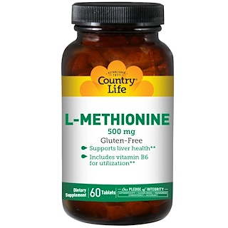 Country Life, L-Methionine, 500 mg, 60 Tabletten