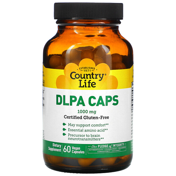 DLPA Caps, 1,000 mg, 60 Vegan Capsules